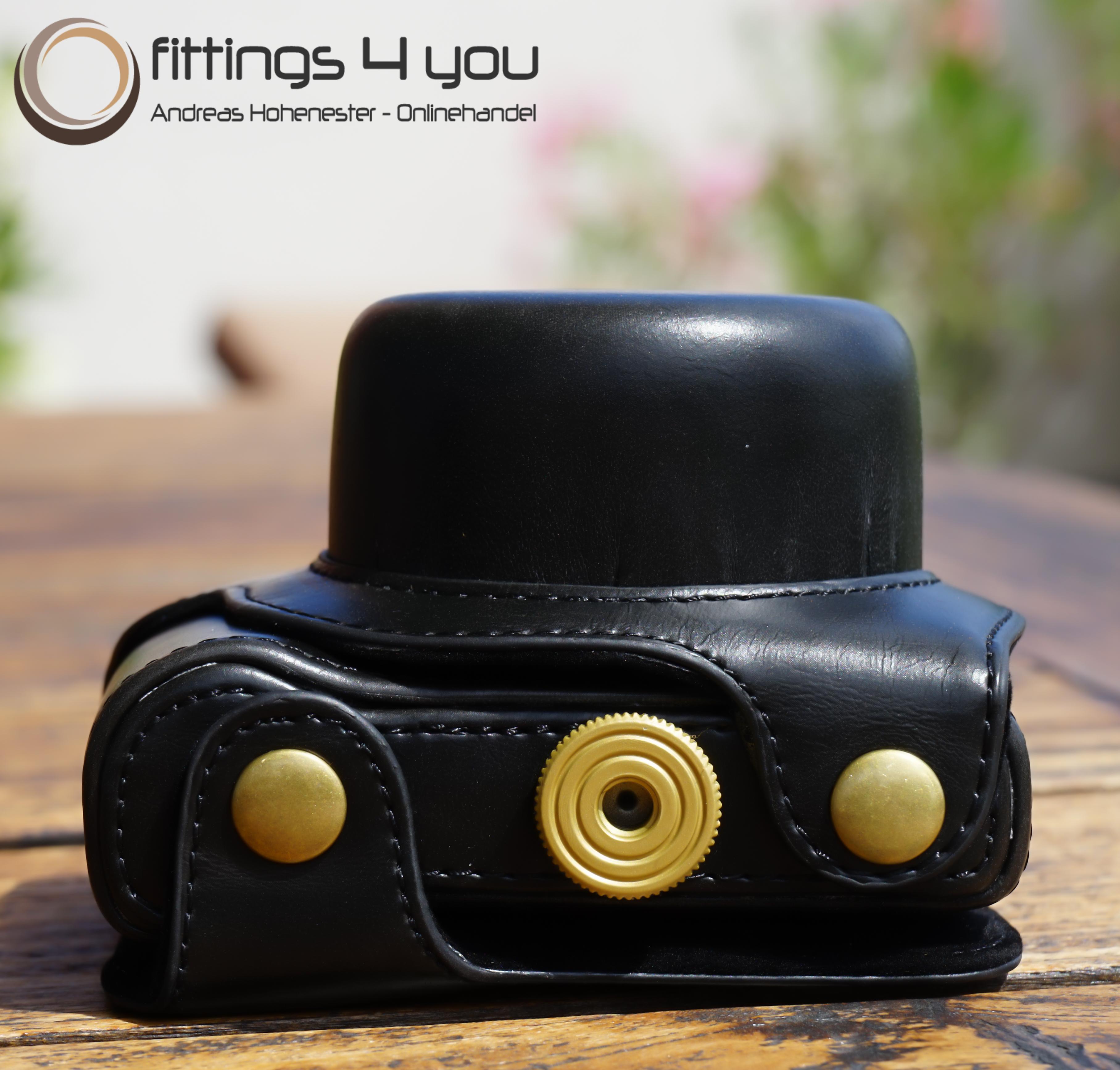 Hülle Tasche Etui Leder Für Nikon 1 J5 Schwarz 10-30mm