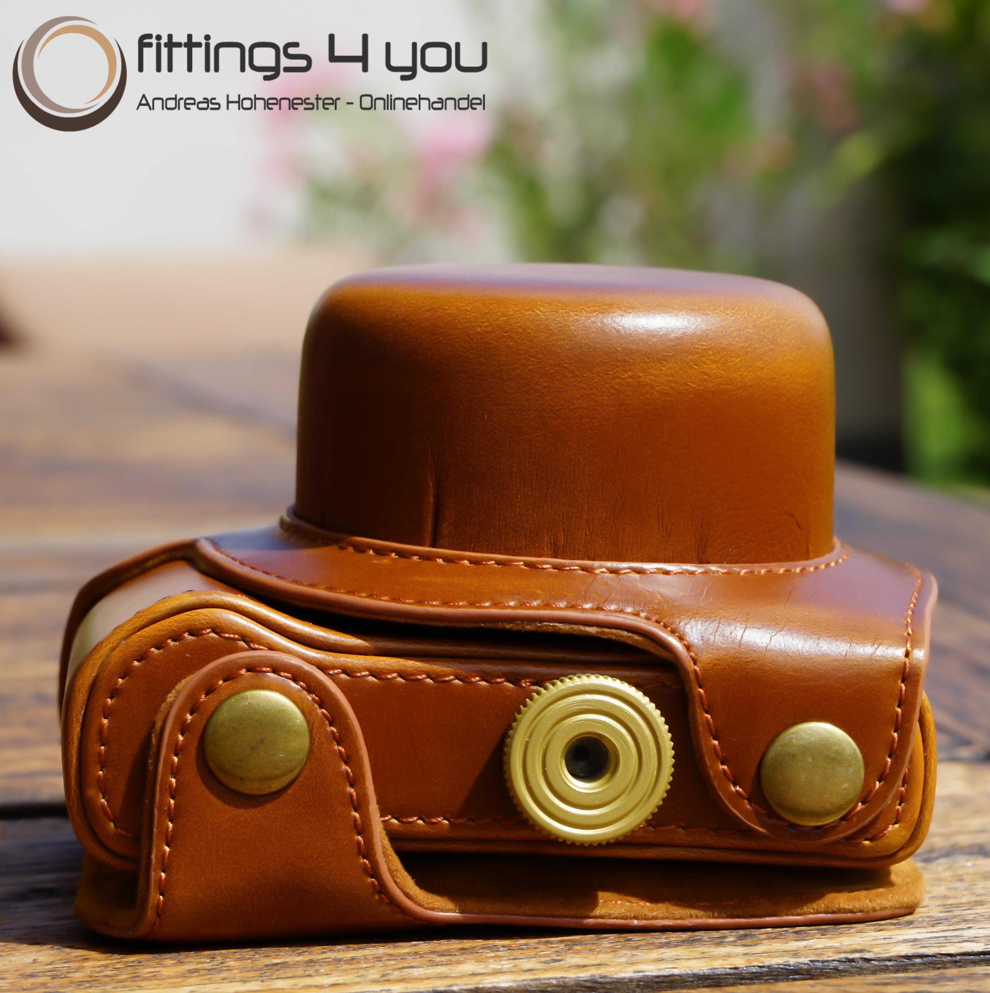 Hülle Tasche Etui Leder  für Nikon 1 J5  hellbraun 10-30mm Nikon1 braun